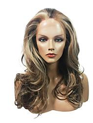 Недорогие -Парики из искусственных волос Синтетические кружевные передние парики Кудрявый Волнистый Стиль Стрижка каскад Полностью ленточные Лента спереди Парик Искусственные волосы Жен. Водопад Коричневый Парик