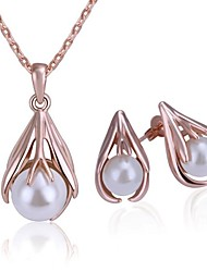 cheap -Modern Tin Alloy Rosy Golden Plated Ivory Pearl Jewelry Set