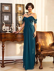 cheap -Sheath / Column Sweetheart Neckline Floor Length Georgette Open Back Cocktail Party / Formal Evening Dress with Side Draping / Split Front by TS Couture®