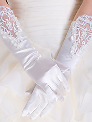cheap -Lace / Satin / Polyester Elbow Length Glove Classical / Bridal Gloves / Party / Evening Gloves With Solid