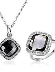 cheap -Fashion Tin Alloy Platinum Plated Necklace and Ring Set