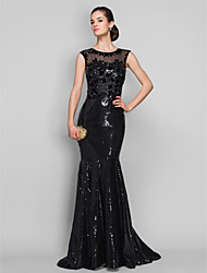 cheap -Mermaid / Trumpet Elegant Beautiful Back Sparkle & Shine Formal Evening Black Tie Gala Dress Illusion Neck Sleeveless Sweep / Brush Train Tulle Sequined with Sequin Appliques 2020