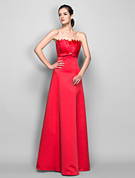 cheap -A-Line Open Back Prom Formal Evening Military Ball Dress Scalloped Neckline Sleeveless Floor Length Satin with Ruched Crystals 2020