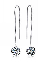 cheap -Women's Drop Earrings Sterling Silver Cubic Zirconia Earrings Jewelry Silver For Party Daily Casual