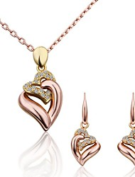 cheap -Women's Jewelry Set Love Luxury Fashion 18K Gold Plated Rose Gold Imitation Diamond Earrings Jewelry Gold For Party