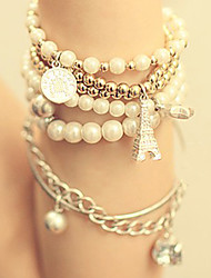 cheap -Women's Wrap Bracelet Layered Tower Eiffel Tower Multi Layer Pearl Bracelet Jewelry For Party Daily Casual / Imitation Pearl