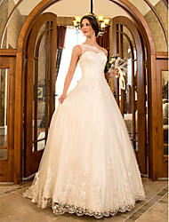 cheap -Ball Gown One Shoulder Sweep / Brush Train Lace / Tulle Regular Straps Floral Lace Made-To-Measure Wedding Dresses with Beading / Appliques / Sash / Ribbon 2020