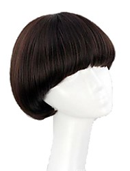 cheap -Synthetic Wig Straight Straight Bob With Bangs Wig Dark Auburn#33 Dark Wine Auburn Black Synthetic Hair 8 inch Women's Red Black Brown hairjoy