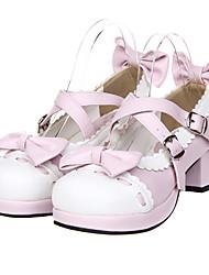 cheap -Women's Lolita Shoes Sweet Lolita High Heel Shoes Bowknot 4.5 cm Pale Pink PU Leather / Polyurethane Leather Halloween Costumes / Princess