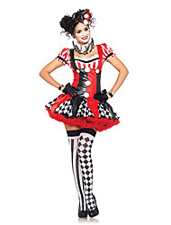 cheap -Burlesque Clown Circus Harley Quinn Cosplay Costume Party Costume Adults' Women's Christmas Halloween Carnival Festival / Holiday Polyester Black / Red / Yellow / White Women's Female Carnival
