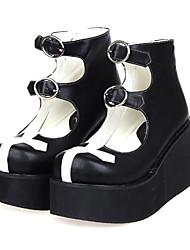 cheap -Women's Lolita Shoes Gothic Lolita Platform Shoes Patchwork 8 cm PU Leather / Polyurethane Leather Halloween Costumes