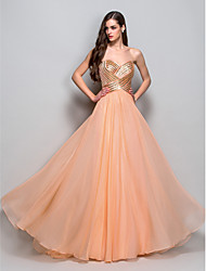 cheap -Ball Gown Vintage Inspired Prom Formal Evening Military Ball Dress Sweetheart Neckline Strapless Sleeveless Floor Length Chiffon with Criss Cross Sequin Draping 2021