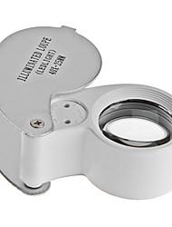 Недорогие -MG21011 40X25mm ювелирные изделия Оценка Лупа с белой светодиодной подсветкой (черный)