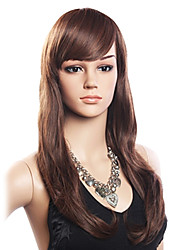 cheap -Synthetic Hair Capless Wig With Bangs style Wavy Wig Side Part Women's Long Synthetic Wig