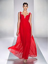 cheap -TS Couture® Prom / Formal Evening / Military Ball Dress - Open Back / Sexy Plus Size / Petite A-line Queen Anne Ankle-length Chiffon / Satin Chiffon