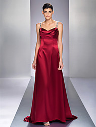 cheap -A-Line Straps Sweep / Brush Train Stretch Satin Open Back Formal Evening Dress with Beading by TS Couture®