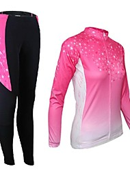 cheap -21Grams Women's Long Sleeve Cycling Jersey with Tights Green Purple Orange Gradient Bike Tights Clothing Suit Thermal / Warm Breathable 3D Pad Quick Dry Sports Elastane Gradient Mountain Bike MTB