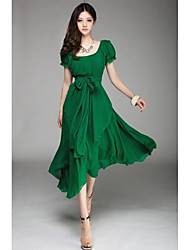 cheap -Going out Swing Dress - Solid Colored Cut Out Bow U Neck Spring Black Red Green L XL XXL