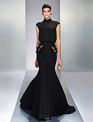 cheap -Mermaid / Trumpet High Neck Court Train Chiffon Elegant / Black Formal Evening / Wedding Guest Dress with Sequin 2020