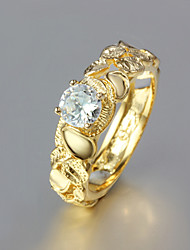 cheap -Women's Statement Ring Gold Plated Yellow Gold Ladies Wedding Party Jewelry / Rhinestone