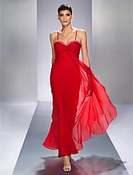 cheap -Sheath / Column Elegant Open Back Prom Formal Evening Military Ball Dress Spaghetti Strap Sleeveless Ankle Length Chiffon with Criss Cross Beading 2021