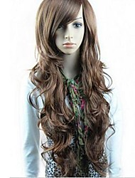 cheap -Synthetic Wig Wavy Style With Bangs Wig Black Light Brown Dark Brown Synthetic Hair 23 inch Women's Side Part Wig Long