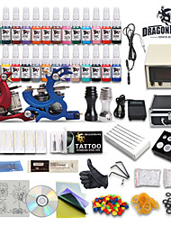 cheap -Professional Tattoo Kit 28 color Ink Power Supply 2 Machine Guns