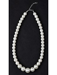 cheap -Women's Pearl Beaded Necklace Pearl Necklace Pearl Imitation Pearl Silver / Black Ivory Necklace Jewelry For Wedding Daily Casual