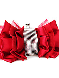 cheap -Women's Bags Satin Evening Bag Zipper Wedding Bags Party Event / Party Almond Black Red Fuchsia