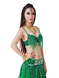 cheap -Belly Dance Tops Women's Performance Polyester Sequin / Tassel Natural Top