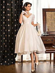 cheap -A-Line Wedding Dresses V Neck Tea Length Taffeta Short Sleeve Vintage Little White Dress 1950s with Lace Criss Cross 2020