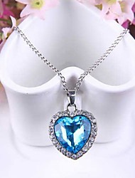 cheap -Women's Synthetic Sapphire Pendant Necklace Solitaire Box Chain Heart Love Ladies Fashion Austria Crystal Alloy Blue Necklace Jewelry For Wedding Party Special Occasion Anniversary Gift Daily