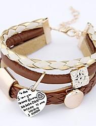 cheap -Women's Wrap Bracelet Layered Heart Love European Fashion Multi Layer Leather Bracelet Jewelry Brown For Daily