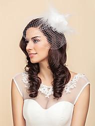 cheap -One-tier Wedding Veil Blusher Veils / Birdcage Veils with Feather / Satin Flower Tulle A-line, Ball Gown, Princess, Sheath / Column, Trumpet / Mermaid