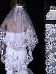 cheap -Two-tier Lace Applique Edge Wedding Veil Fingertip Veils with 31.5 in (80cm) Tulle A-line, Ball Gown, Princess, Sheath / Column, Trumpet / Mermaid
