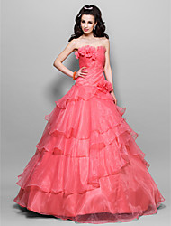 cheap -Ball Gown Vintage Inspired Quinceanera Prom Formal Evening Dress Strapless Sleeveless Floor Length Organza with Ruffles Side Draping Flower 2020