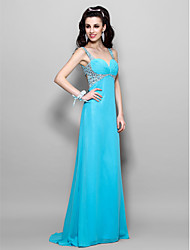 cheap -A-Line Beautiful Back Pastel Colors Beaded & Sequin Prom Formal Evening Dress Sweetheart Neckline Sleeveless Floor Length Chiffon with Ruched Crystals 2020