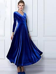 Недорогие -С летящей юбкой Платье - Однотонный, Плиссировка V-образный вырез Макси