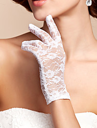 cheap -Lace / Polyester Wrist Length Glove Classical / Bridal Gloves With Solid