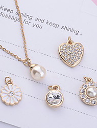 cheap -Women's Pearl Pendant Necklace Ladies Imitation Pearl Rhinestone Gold Plated Gold Necklace Jewelry 5pcs For Party Daily Casual