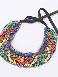 cheap -Women's Amethyst Statement Necklace Beads Bohemian European Fashion Boho Acrylic Silver Plated Plastic Blue / Red Necklace Jewelry For Party Daily Casual