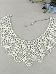 cheap -Women's Pearl Collar Necklace Seed Pearls Ladies Elegant Vintage Fashion Pearl Imitation Pearl White Necklace Jewelry 1pc For Wedding Party Special Occasion Birthday Gift Daily