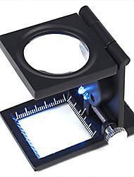 Недорогие -10X металлический складной карманный Ювелирные изделия Лупа Лупа увеличительное стекло со шкалой и LED