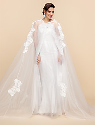cheap -Long Sleeve Capes Lace / Tulle Wedding / Party Evening Wedding  Wraps / Hoods & Ponchos With