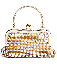 cheap -Women's Bags Nylon Evening Bag Crystal / Rhinestone Crystals Rhinestone Crystal Evening Bags Party Event / Party Gold