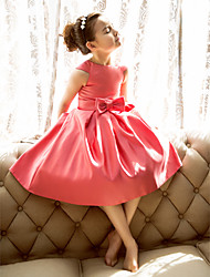 cheap -Princess / A-Line Tea Length Pageant Flower Girl Dresses - Satin Short Sleeve Jewel Neck with Bow(s)