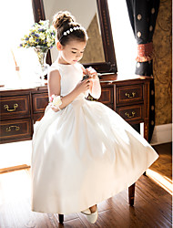cheap -A-Line / Princess Tea Length Flower Girl Dress - Satin Sleeveless Jewel Neck with Bow(s) / Ruched / First Communion