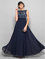 cheap -A-Line Scoop Neck Floor Length Chiffon Sparkle & Shine / Elegant Cocktail Party / Homecoming / Prom Dress with Beading / Bow(s) / Ruched 2020 / Formal Evening