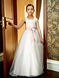 cheap -A-Line Ankle Length Wedding / First Communion Flower Girl Dresses - Organza Short Sleeve Square Neck with Lace / Sash / Ribbon / Bow(s) / Spring / Summer / Fall