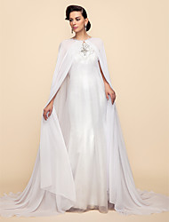 cheap -Long Sleeve Capes Chiffon / Lace Wedding / Party Evening Wedding  Wraps / Hoods & Ponchos With Draping / Solid